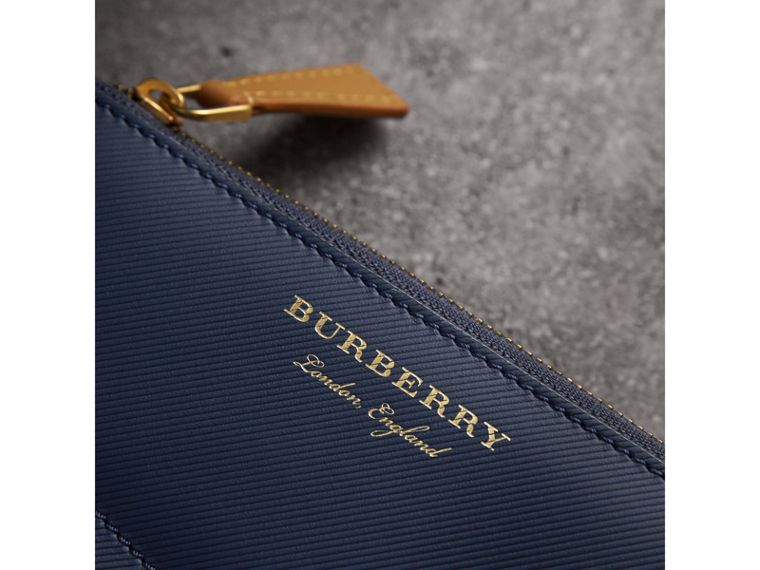 Two-tone Trench Leather Ziparound Wallet in Ink Blue/ochre Yellow - Women | Burberry Singapore - cell image 1