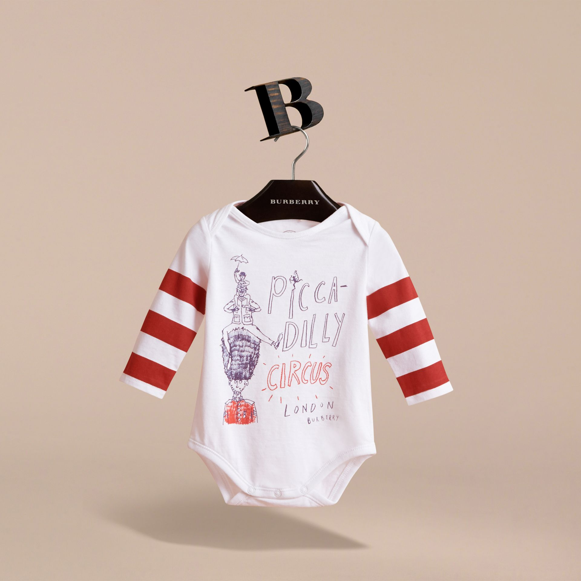 Long-sleeve London Icons Print Cotton Bodysuit in White - Children | Burberry - gallery image 2