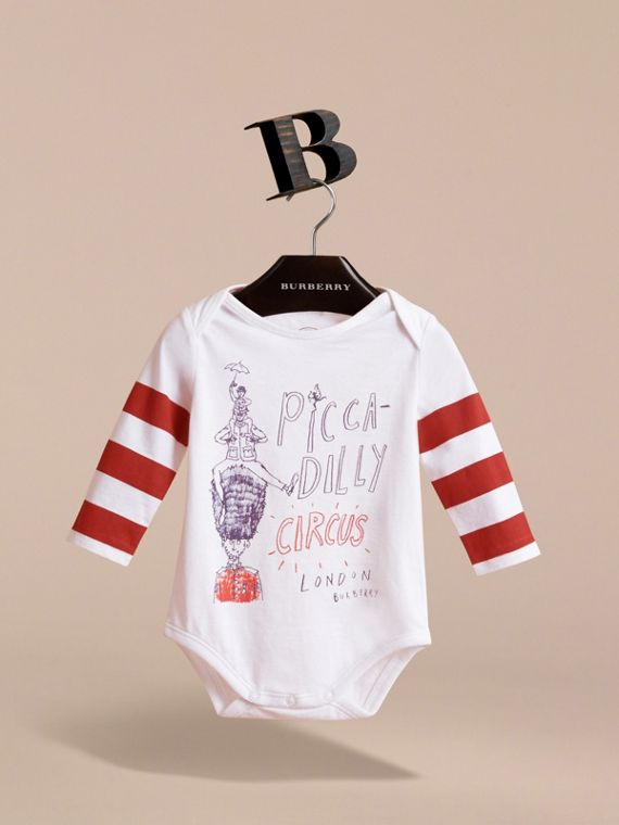 Long-sleeve London Icons Print Cotton Bodysuit in White - Children | Burberry - cell image 2
