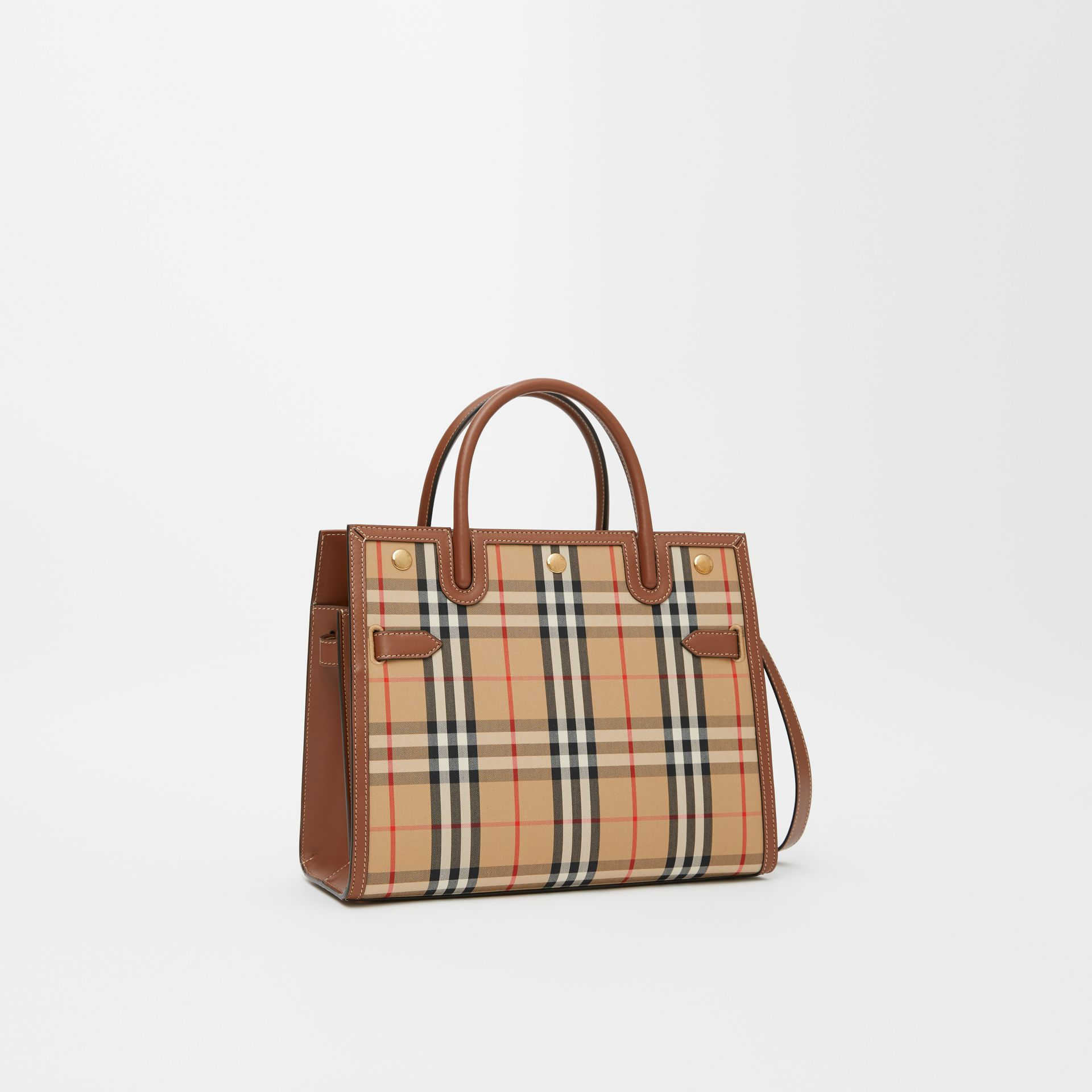 Mini Vintage Check Two-handle Title Bag in Archive Beige - Women | Burberry - gallery image 6