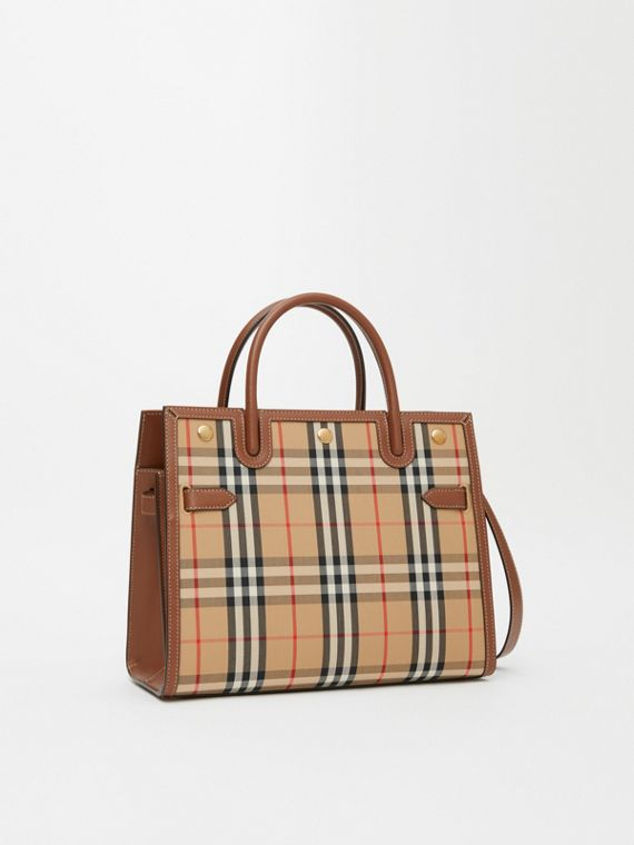 Borsa Title mini in Vintage check con due manici (Beige Archivio)