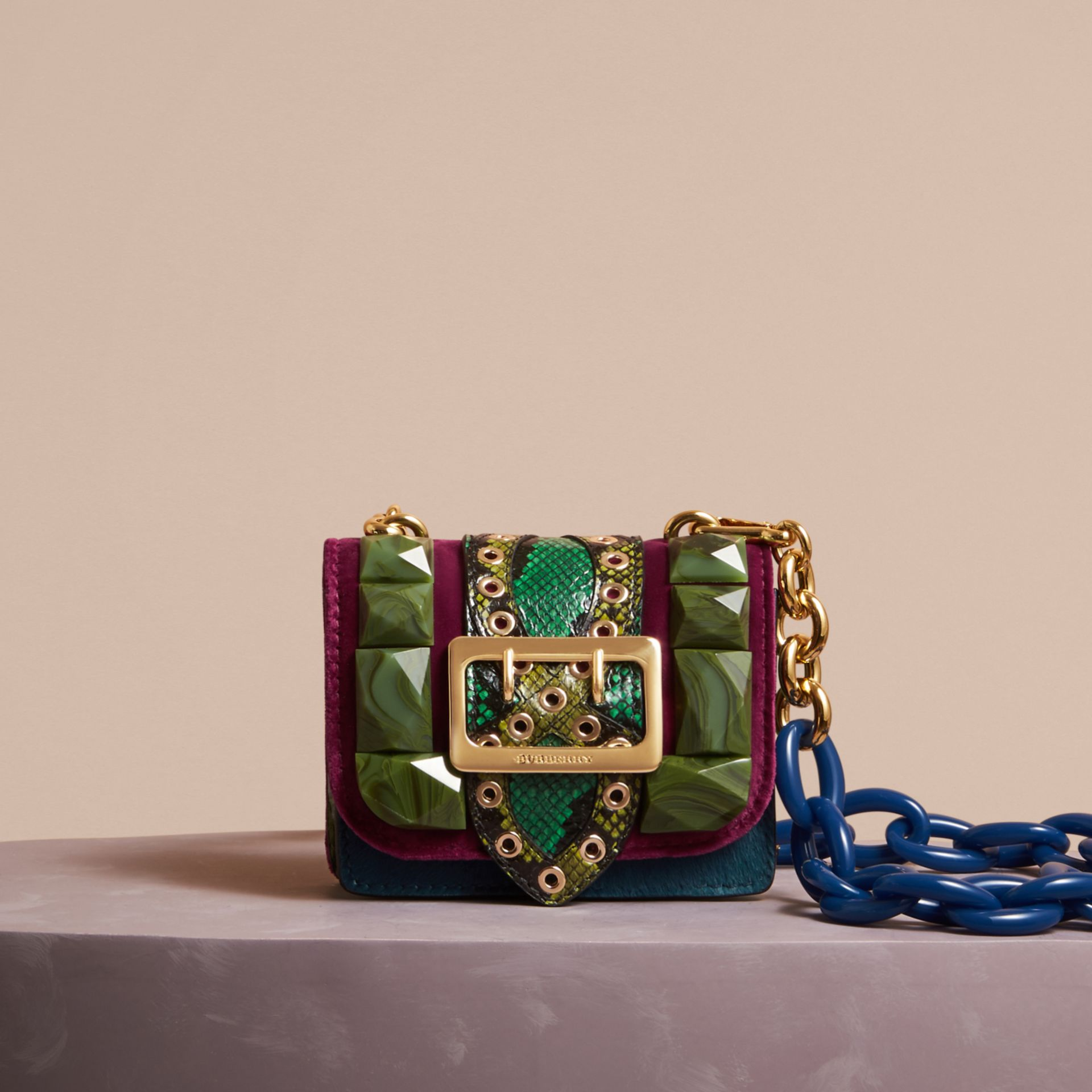 The Mini Square Buckle Bag in Calfskin, Snakeskin and Velvet in Damson - Women | Burberry United Kingdom - gallery image 6