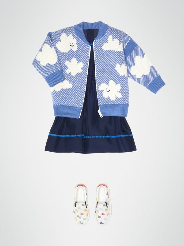 Cloud Jacquard Merino Wool Cardigan in Cornflower Blue - Children | Burberry - cell image 2