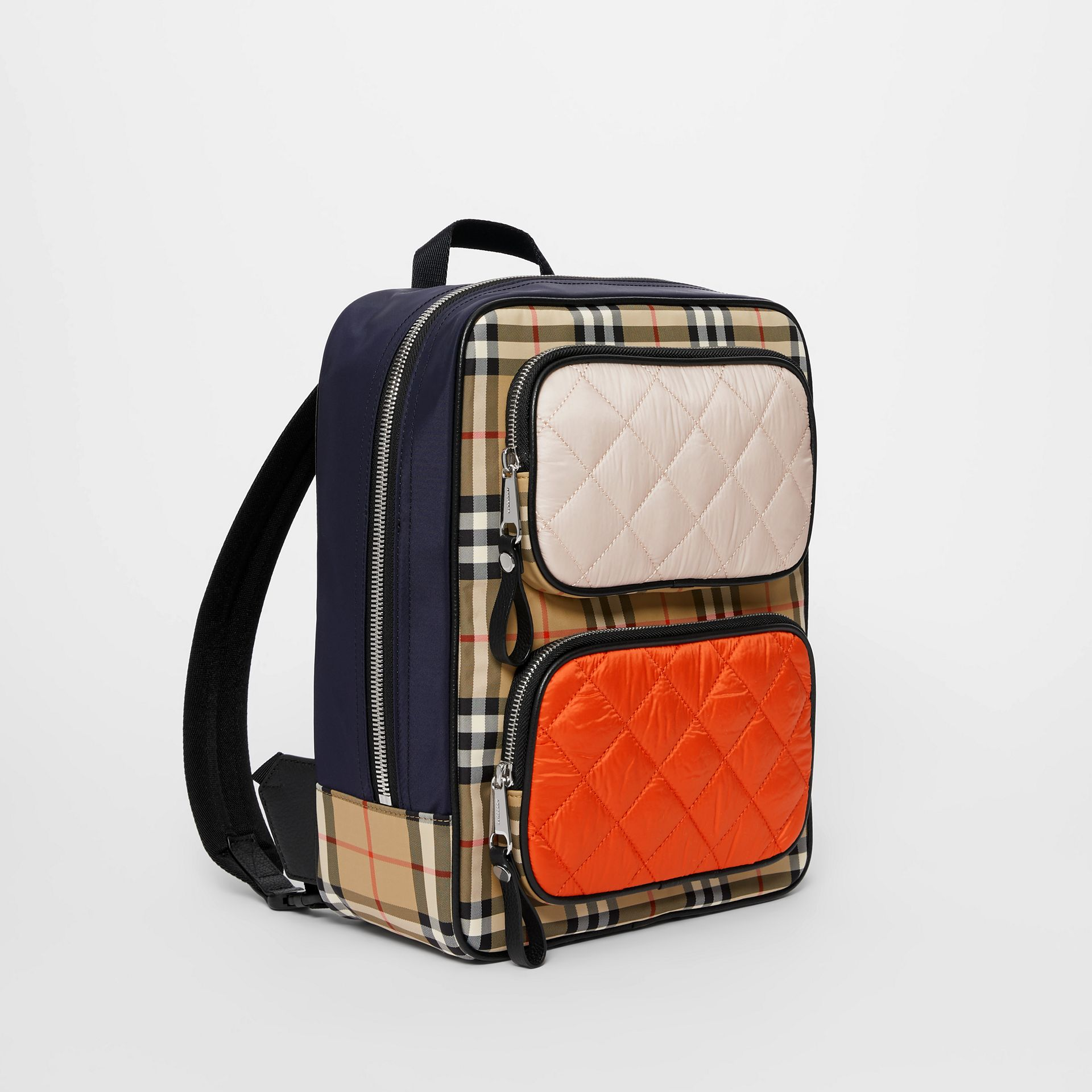 Colour Block Pocket Detail Vintage Check Backpack in Ice Pink/orange Red - Children | Burberry United Kingdom - gallery image 4