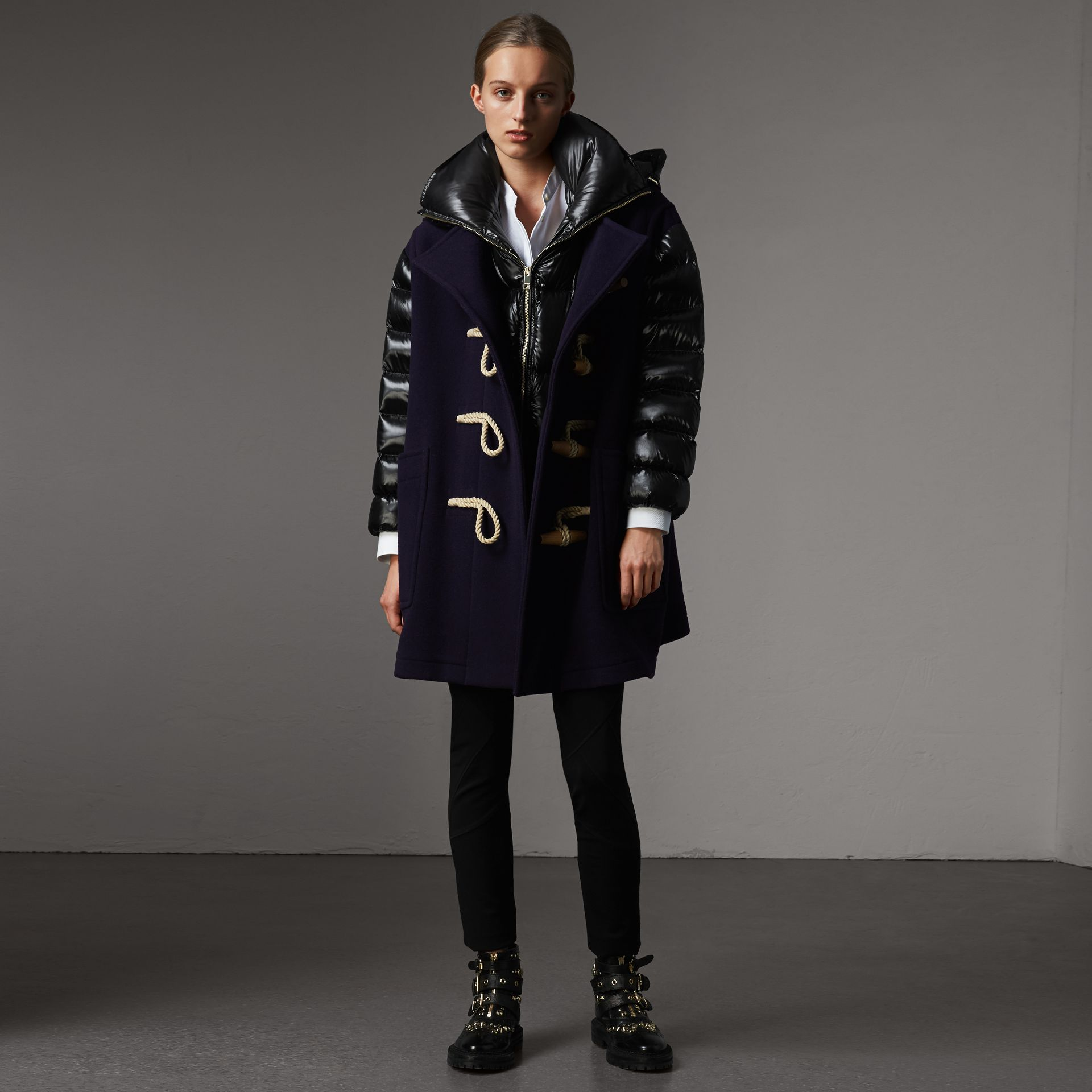 Detachable Hood Down-filled Sleeve Wool Blend Duffle Coat in Navy - Women | Burberry - gallery image 1