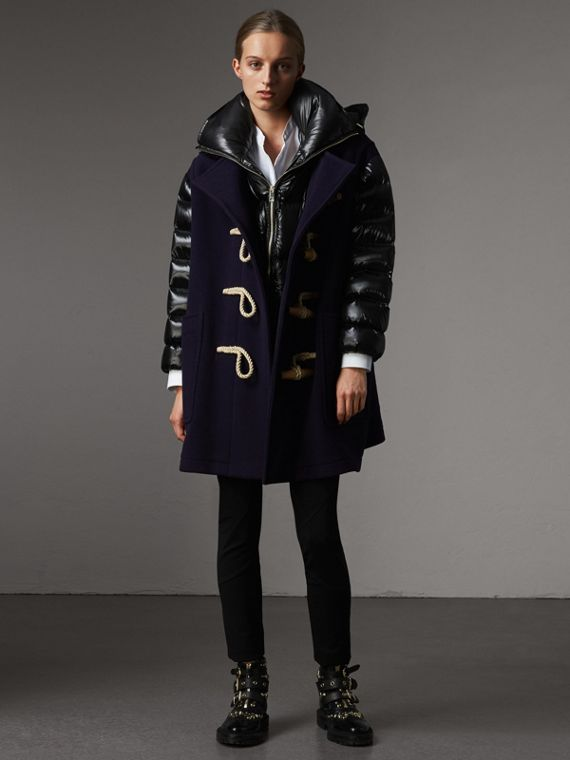 Detachable Hood Down-filled Sleeve Wool Blend Duffle Coat in Navy