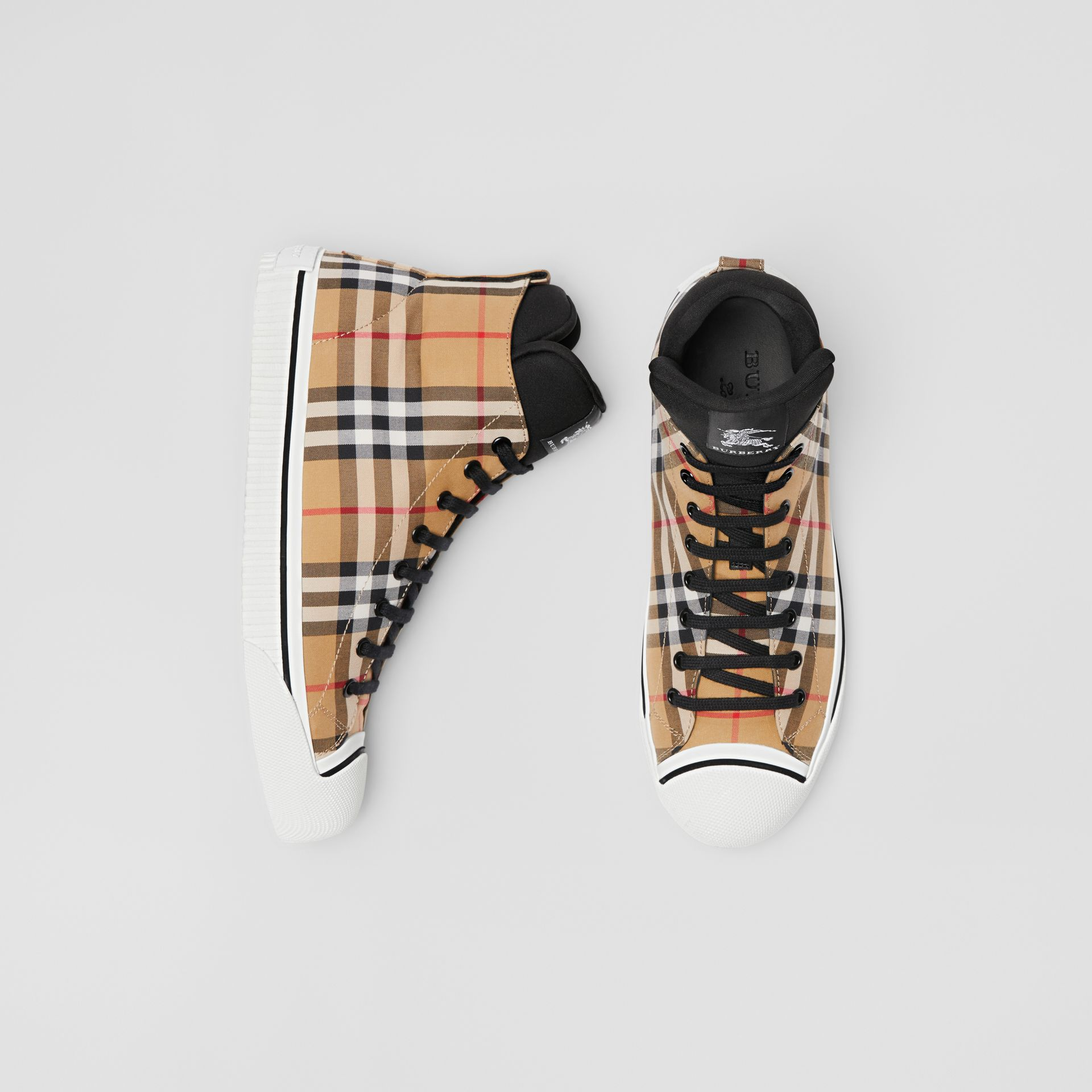 Vintage Check High-top Sneakers in Antique Yellow - Men | Burberry - gallery image 0