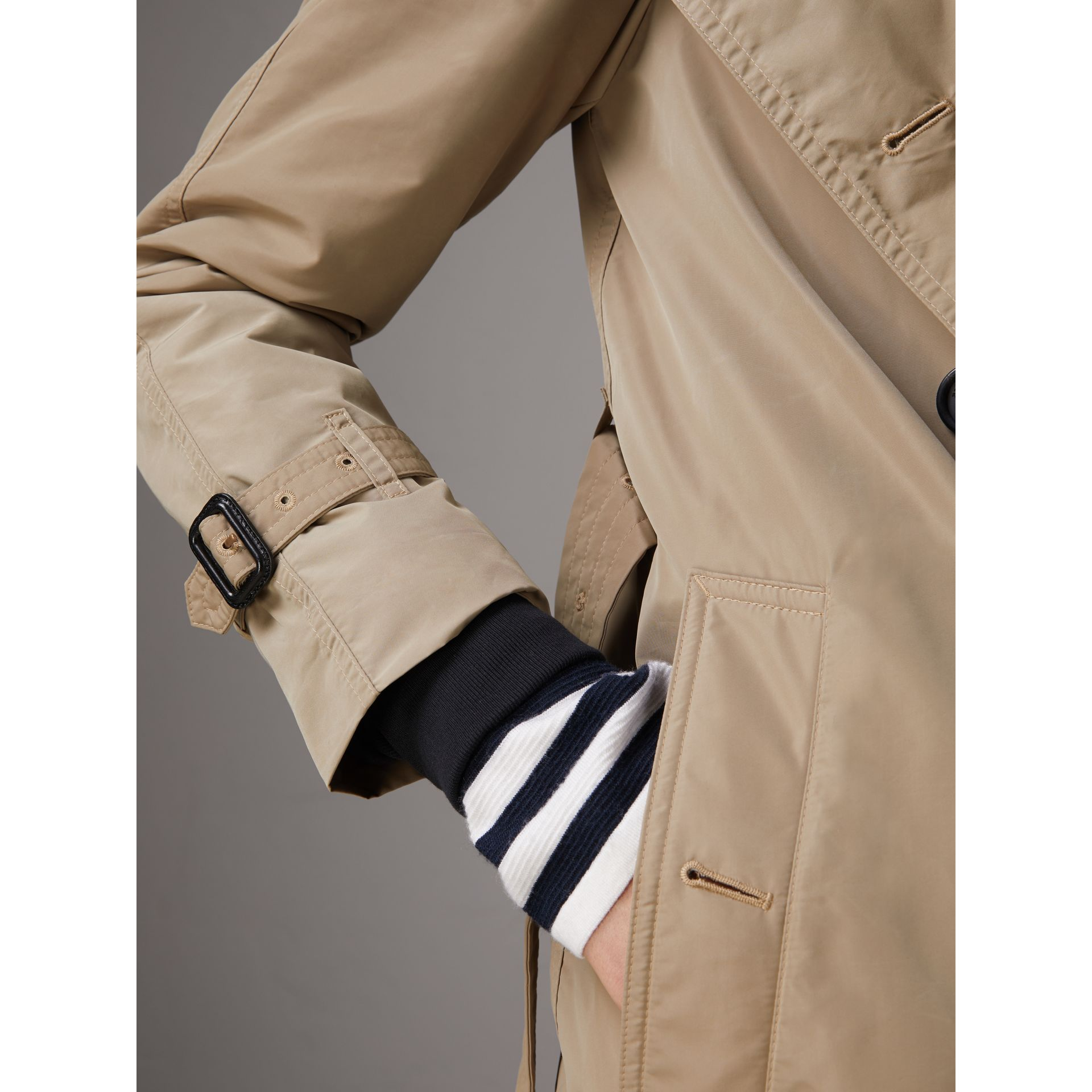 Detachable Hood Taffeta Trench Coat in Sisal - Women | Burberry Australia - gallery image 4