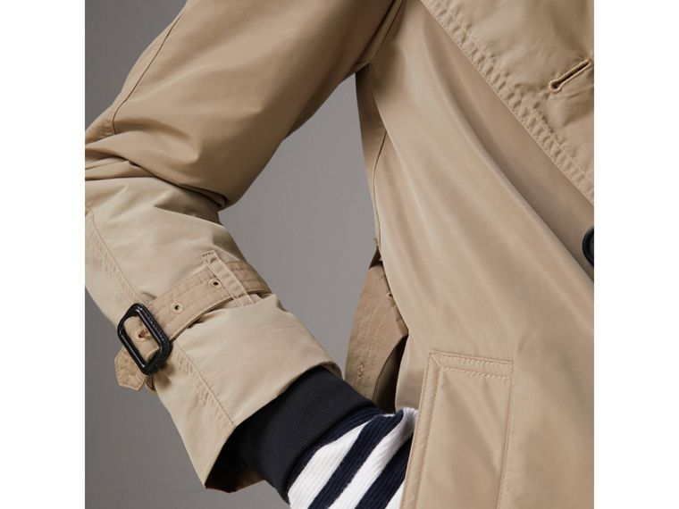 Detachable Hood Taffeta Trench Coat in Sisal - Women | Burberry Australia - cell image 4