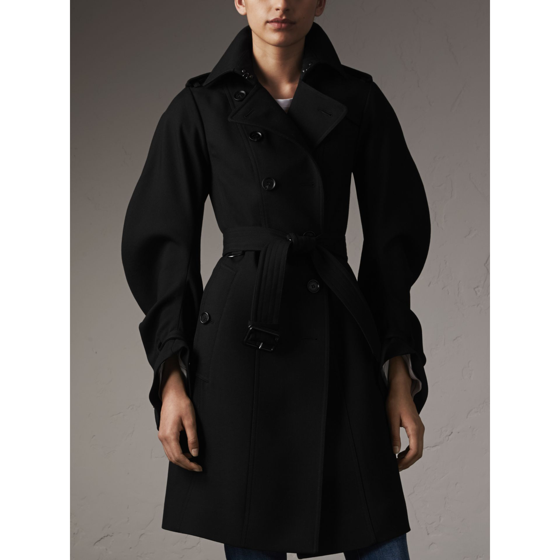 Wool Sculptural Trench Coat in Black - Women | Burberry - gallery image 6