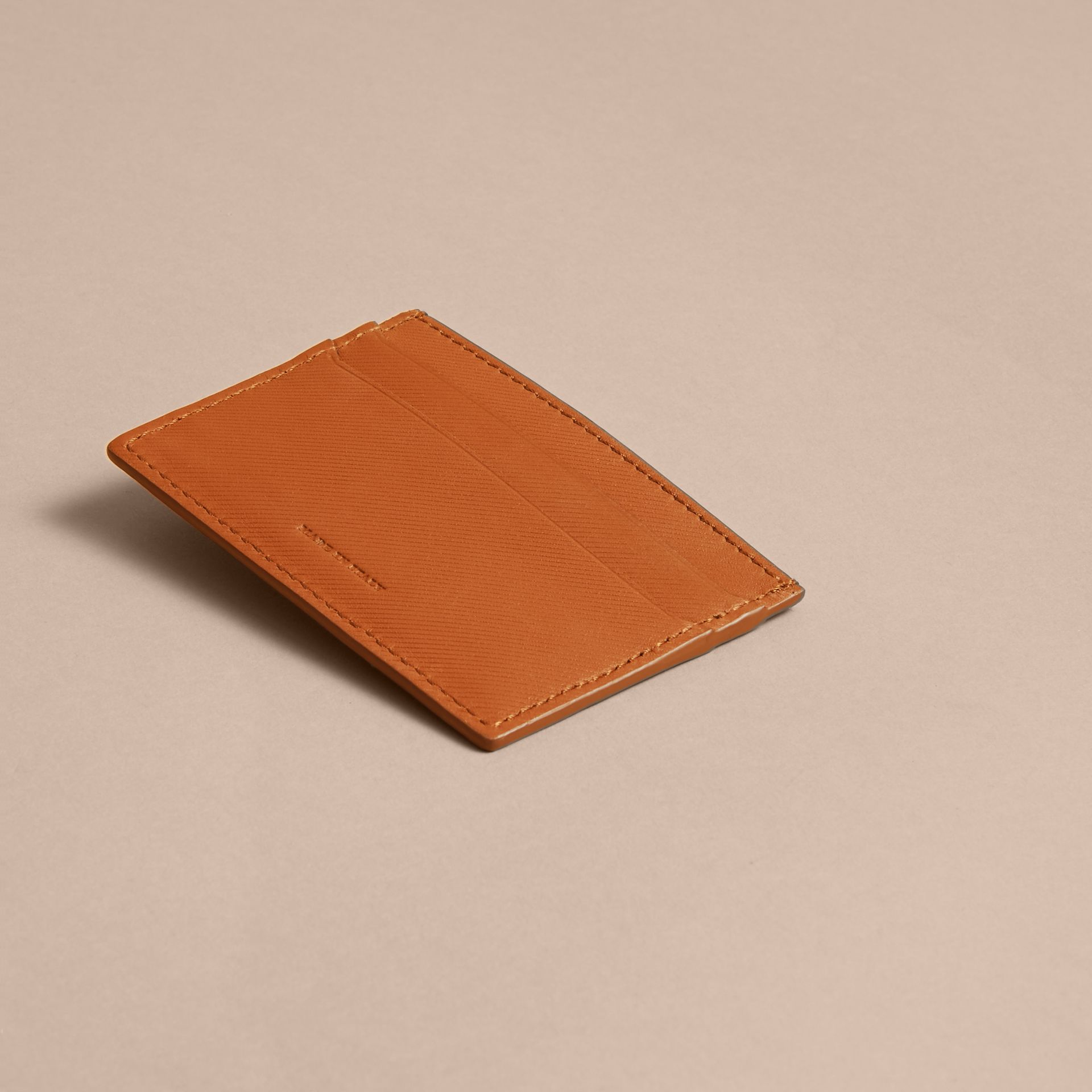 Trench Leather Card Case in Tan | Burberry - gallery image 3