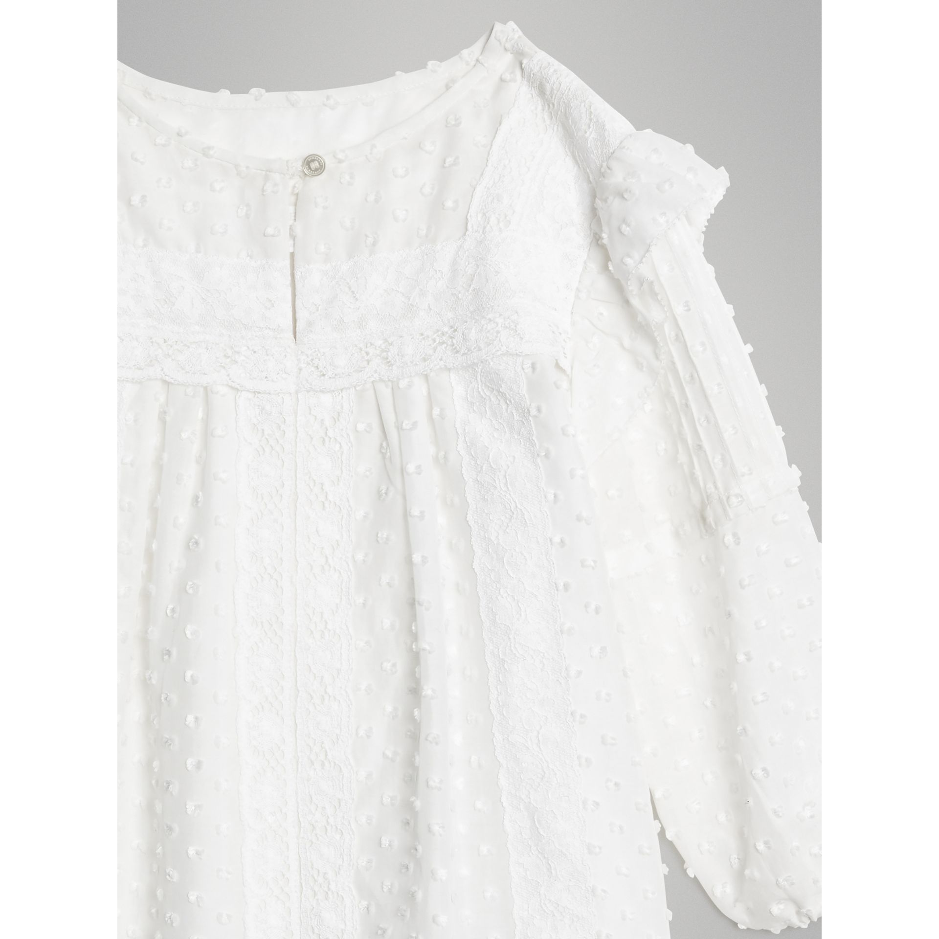 Ruffle Detail Cotton Silk Blend Top in White | Burberry - gallery image 5