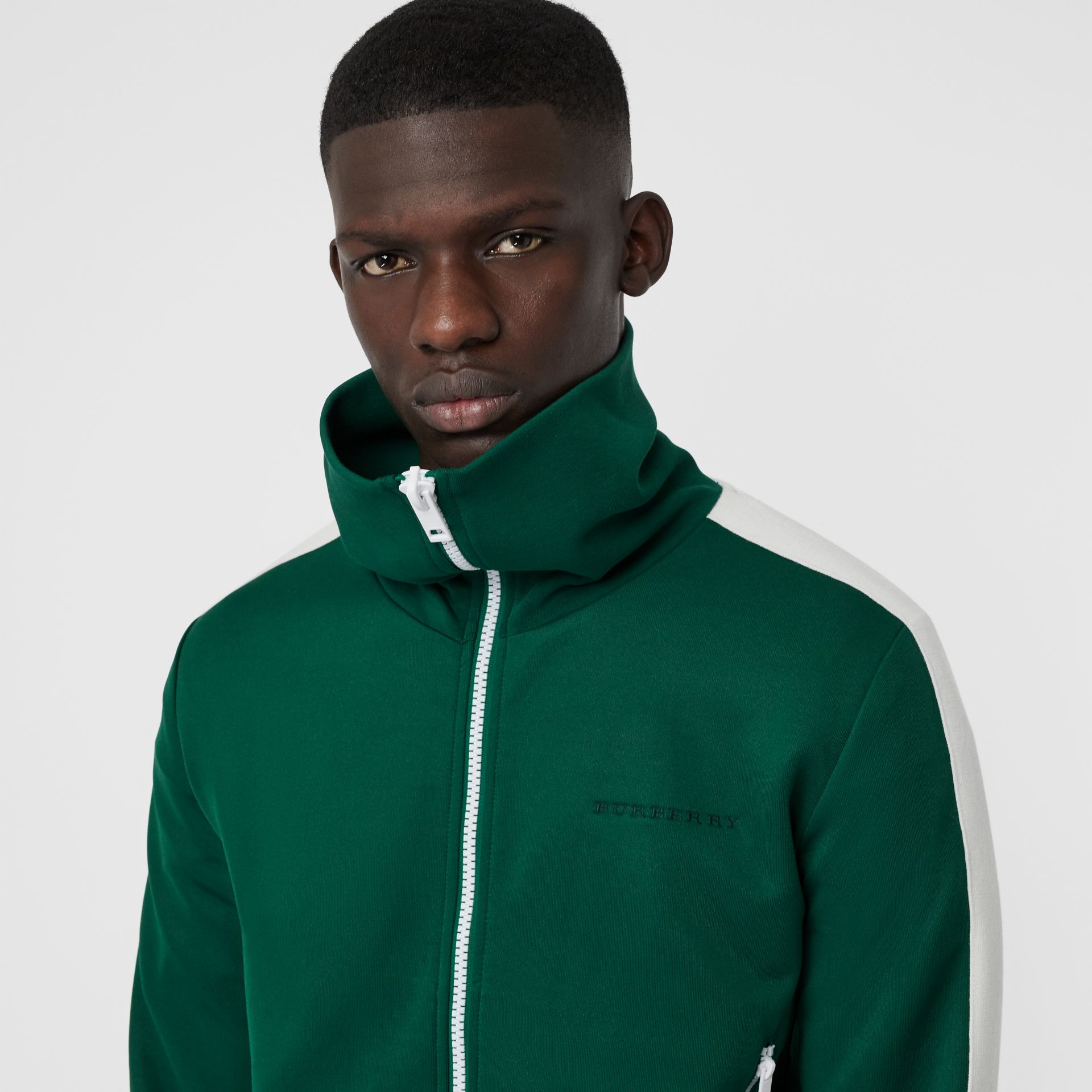 Stripe Detail Jersey Track Top in Opal Green - Men | Burberry - gallery image 1