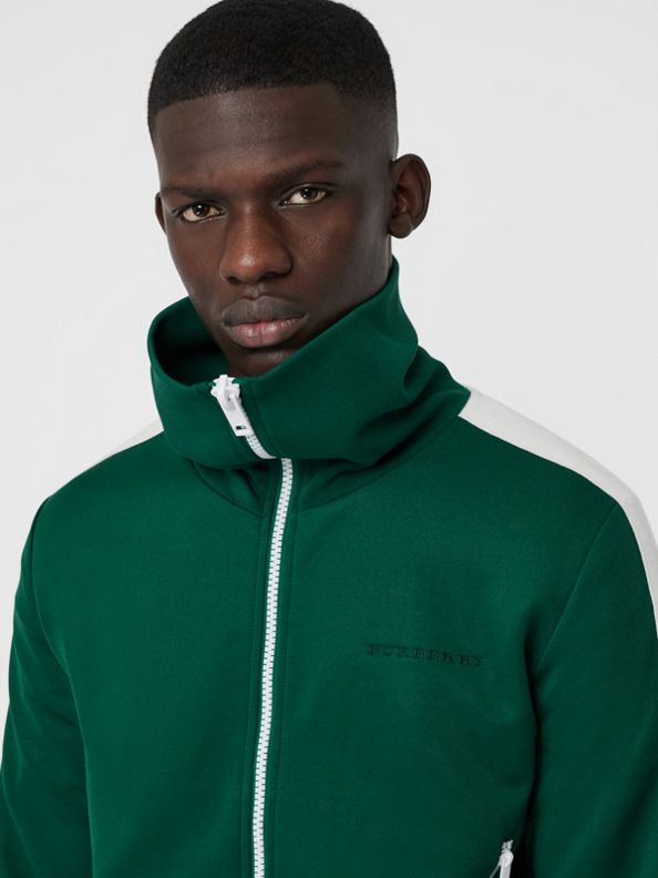 Stripe Detail Jersey Track Top in Opal Green