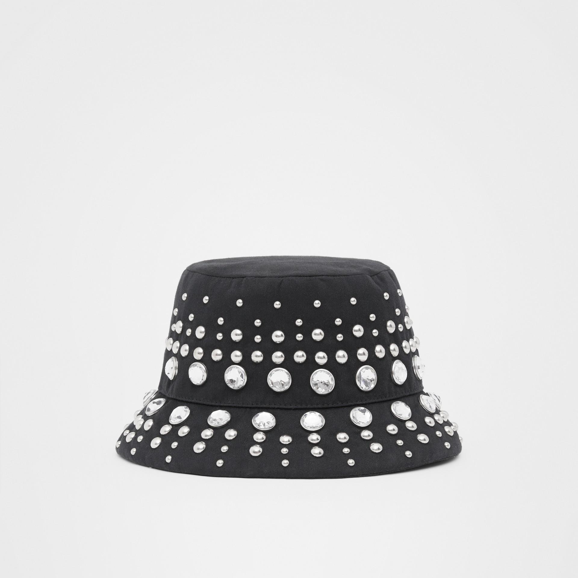 裝飾細節棉質斜紋漁夫帽 (黑色) | Burberry - 圖庫照片 6