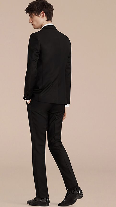 Black Slim Fit Wool Mohair Half-canvas Tuxedo - Image 2
