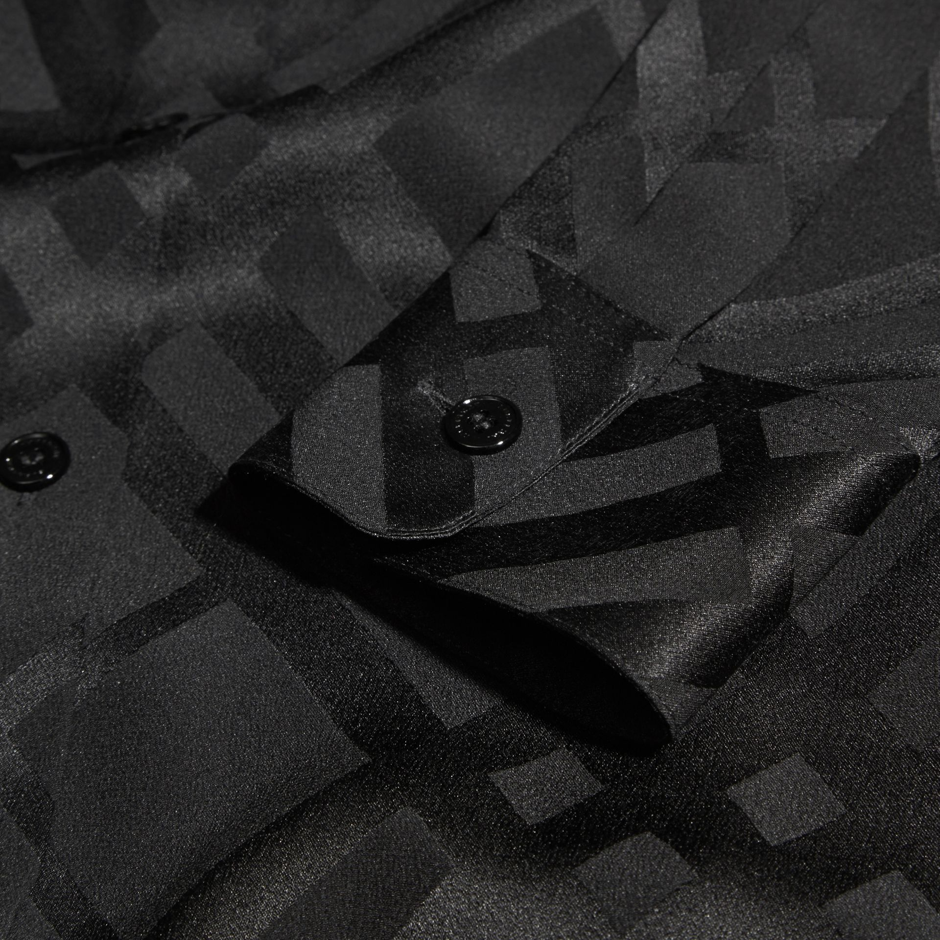 Tonal Check Silk Shirt Black - gallery image 2
