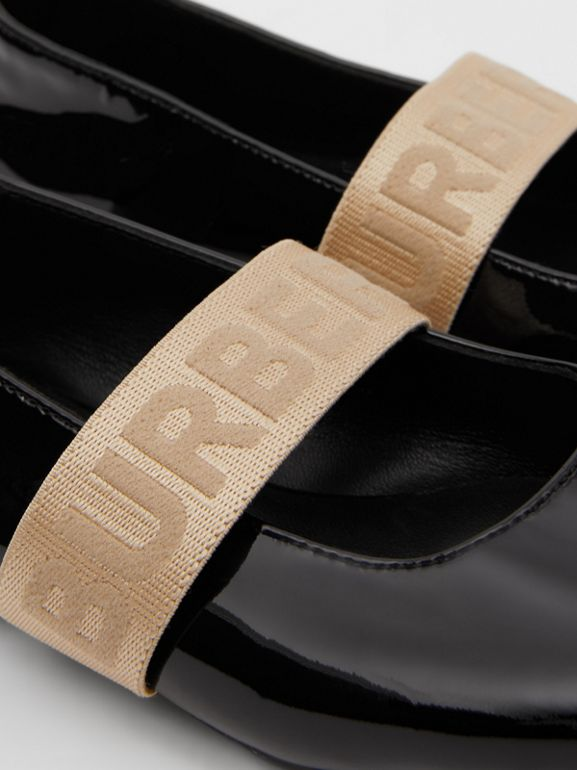 Logo Detail Patent Leather Flats in Black - Children | Burberry - cell image 1