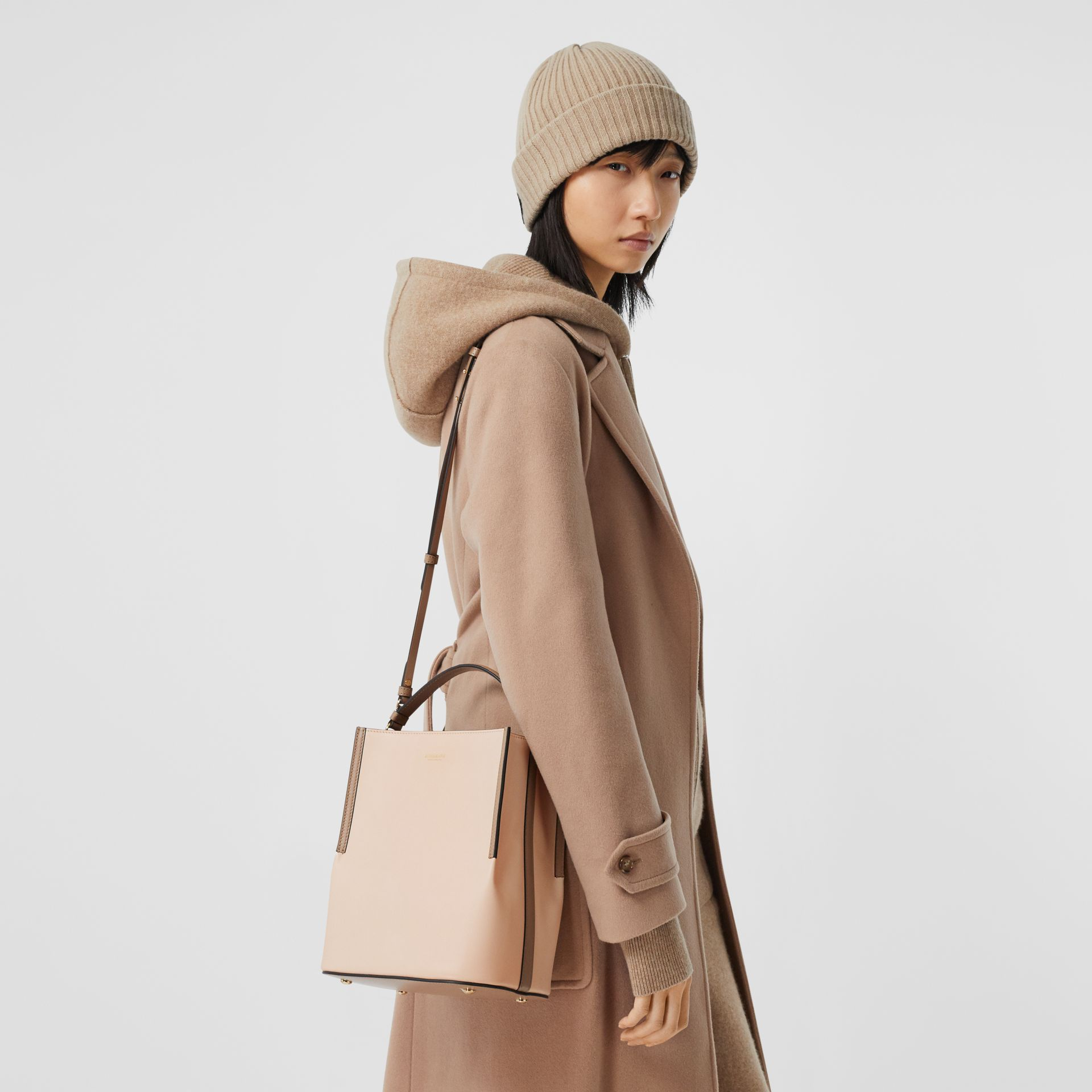 Small Two-tone Leather Peggy Bucket Bag in Buttermilk - Women | Burberry United States - gallery image 8