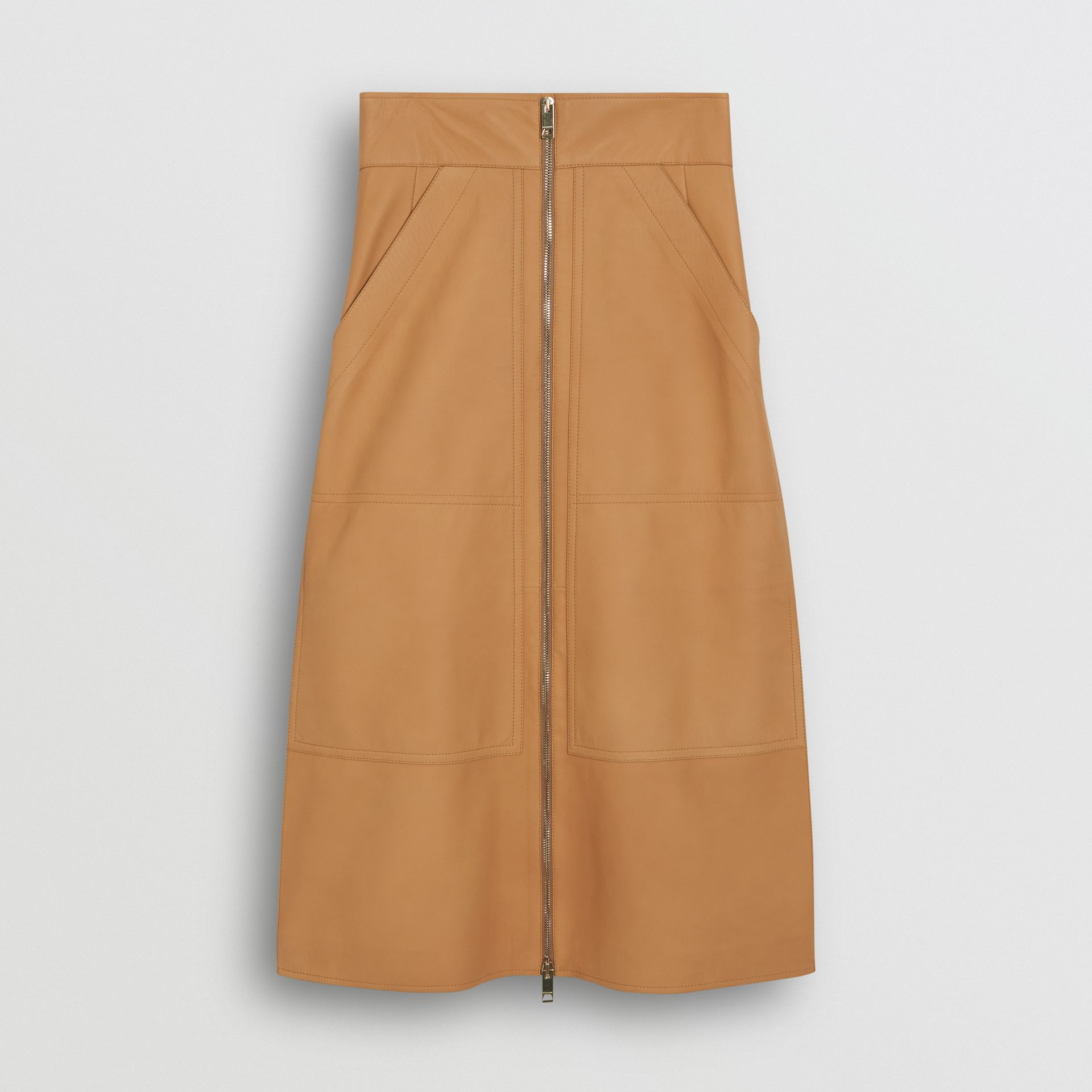 Lambskin High-waisted Skirt in Caramel - Women | Burberry - gallery image 3