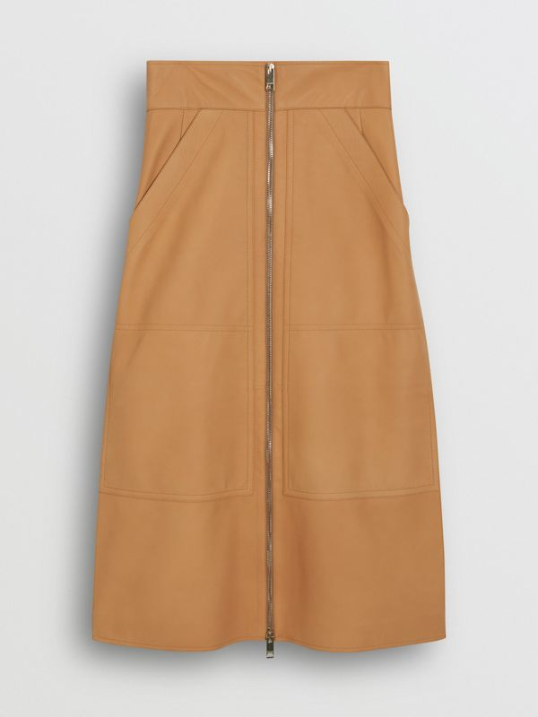Lambskin High-waisted Skirt in Caramel - Women | Burberry - cell image 3