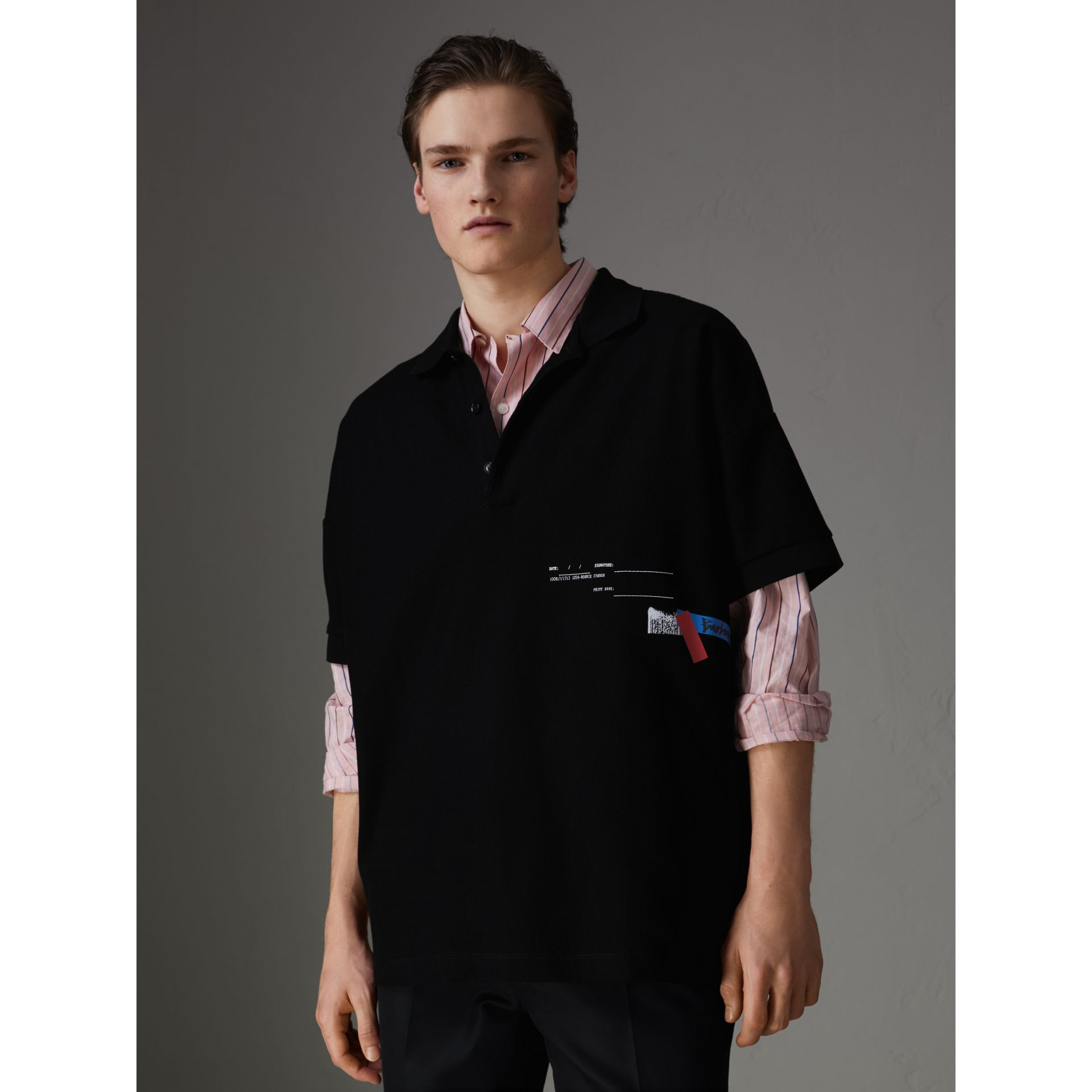 Sport Stripe Oversized Polo Shirt in Black - Men | Burberry - gallery image 4
