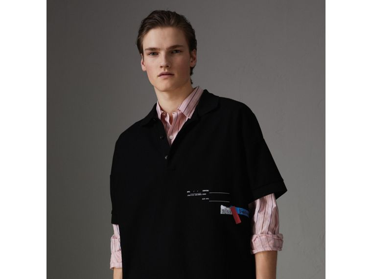 Sport Stripe Oversized Polo Shirt in Black - Men | Burberry - cell image 4