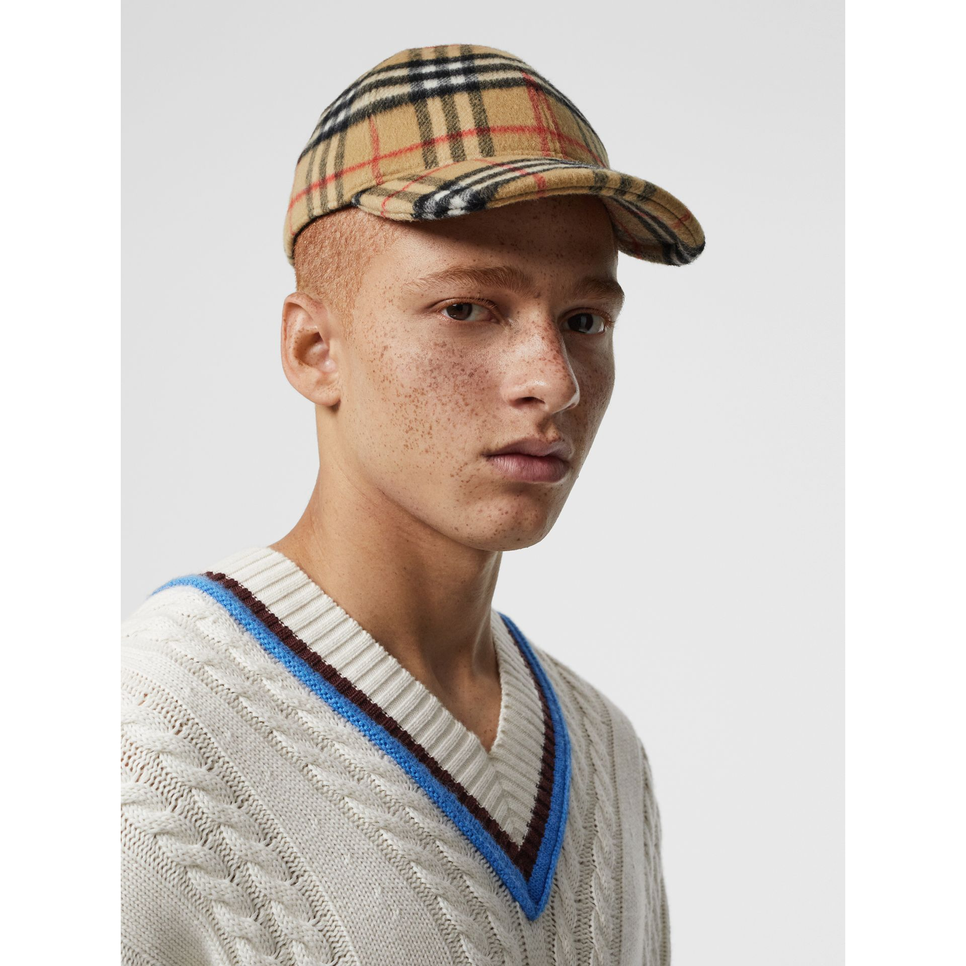 Vintage Check Wool Baseball Cap in Antique Yellow | Burberry - gallery image 3