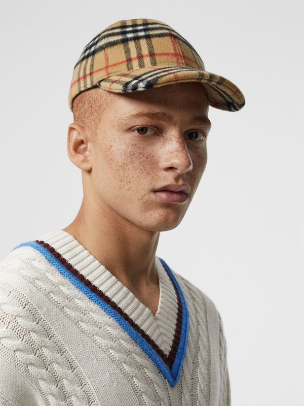 Vintage Check Wool Baseball Cap in Antique Yellow | Burberry United Kingdom - cell image 3