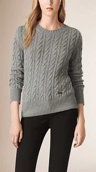 Cable Knit Wool Cashmere Sweater
