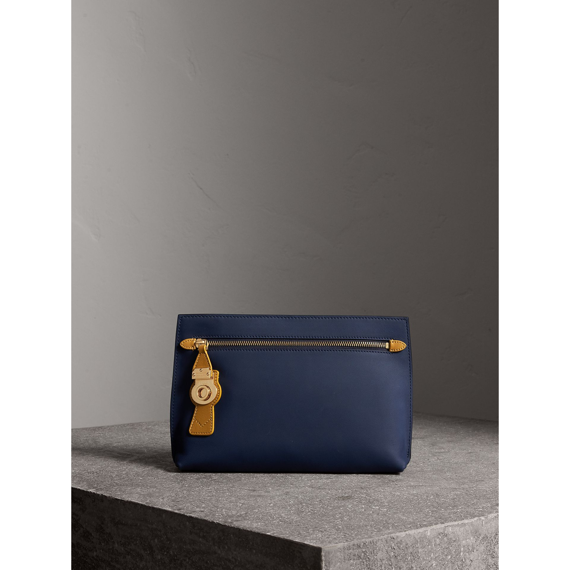 Two-tone Trench Leather Wristlet Pouch in Ink Blue/ochre Yellow - Women | Burberry - gallery image 1