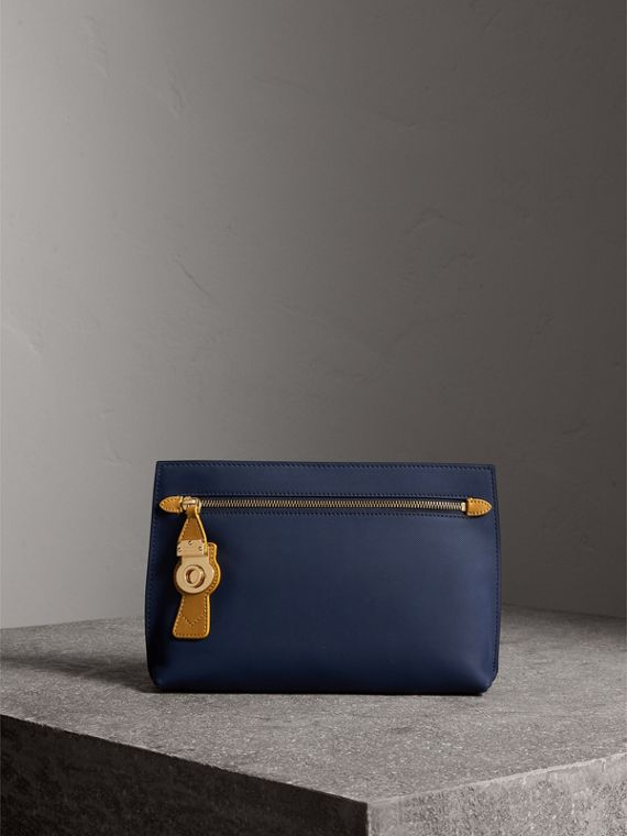 Two-tone Trench Leather Wristlet Pouch in Ink Blue/ochre Yellow - Women | Burberry Australia