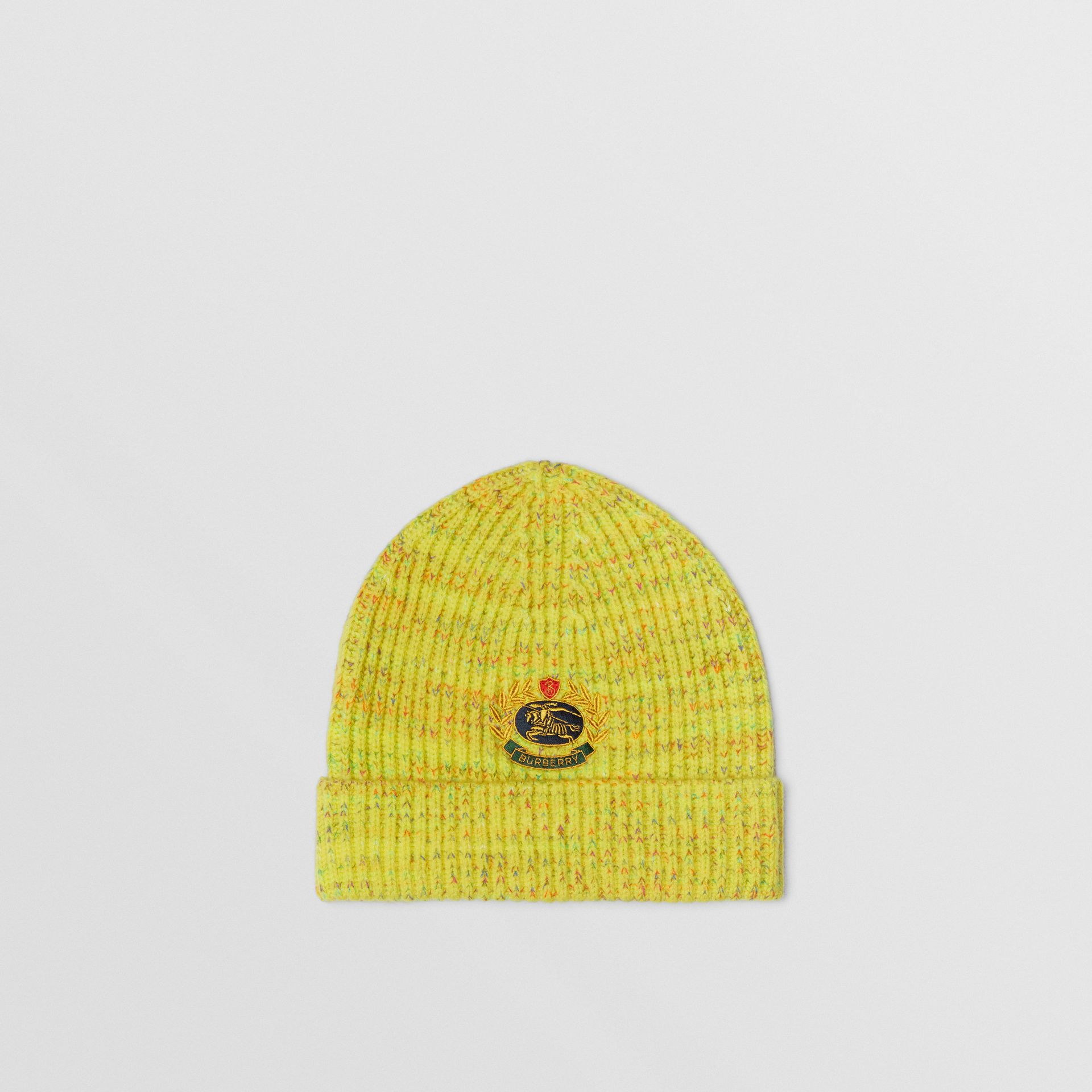 Embroidered Archive Logo Wool Blend Beanie in Gorse Yellow | Burberry United Kingdom - gallery image 0
