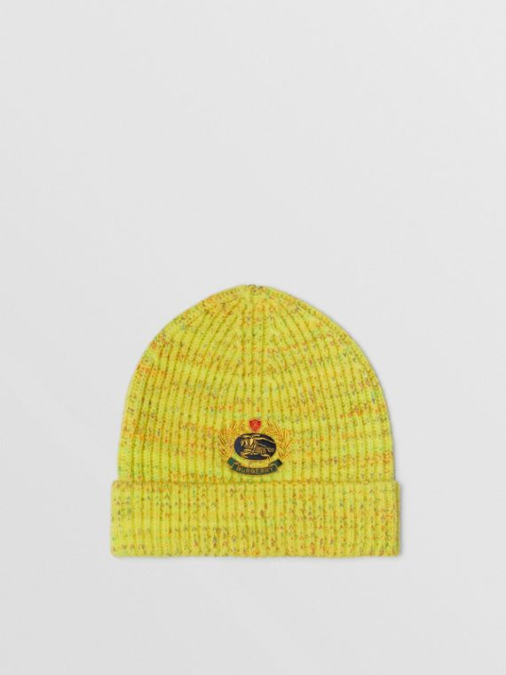 Embroidered Archive Logo Wool Blend Beanie in Gorse Yellow