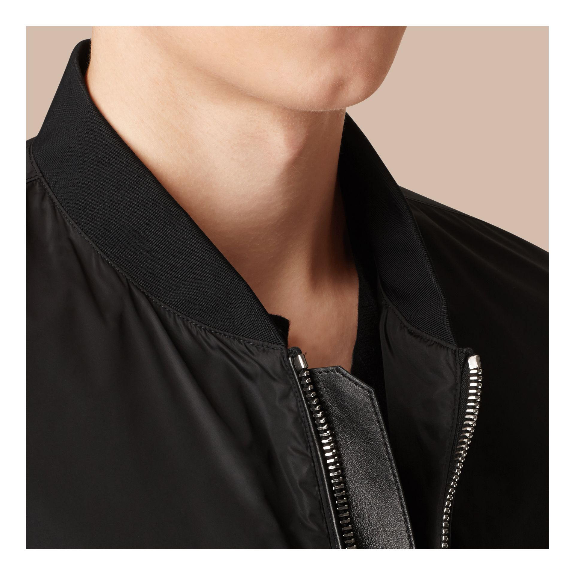 Black Showerproof Bomber Jacket - gallery image 2
