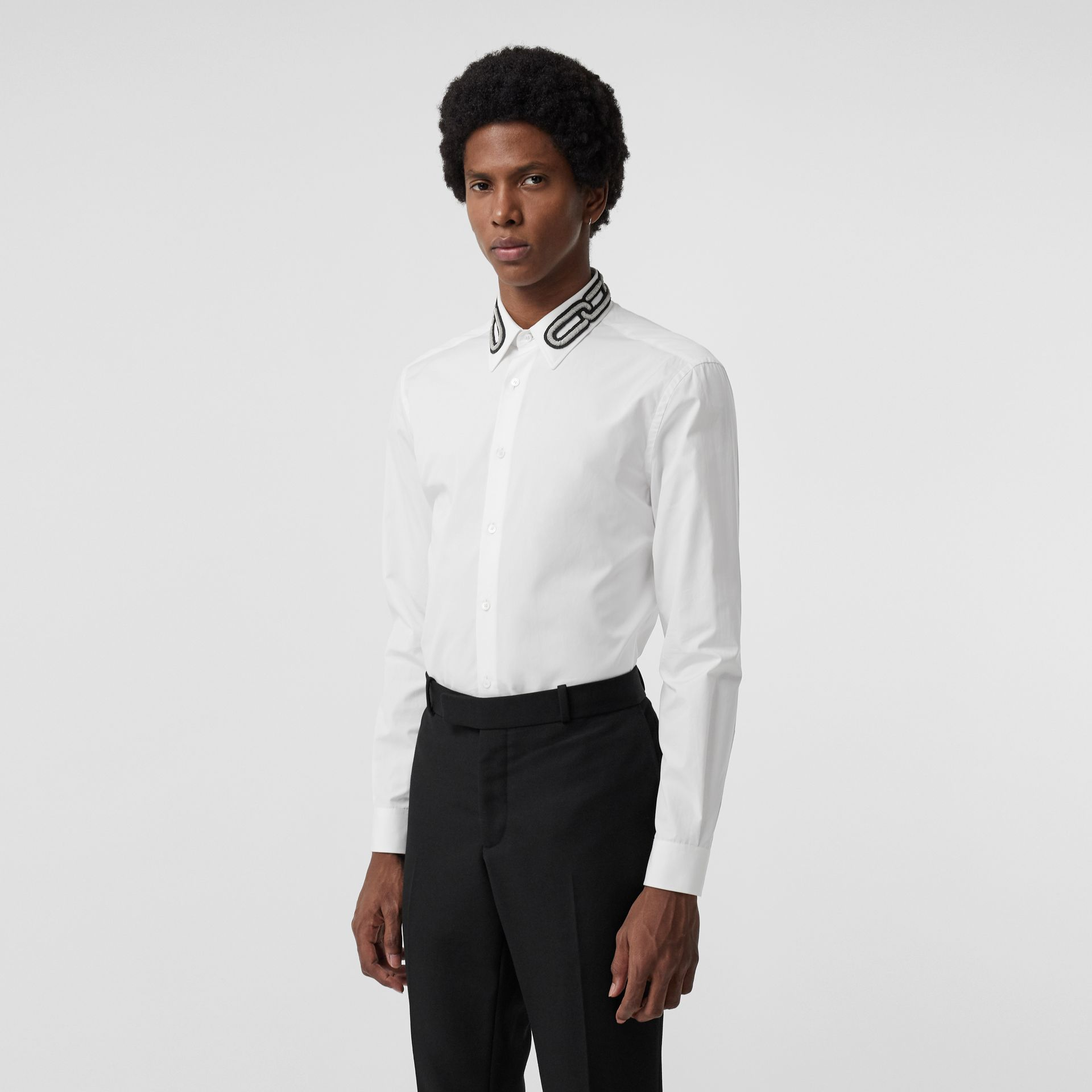 Slim Fit Bullion Link Cotton Poplin Dress Shirt in White - Men | Burberry - gallery image 0