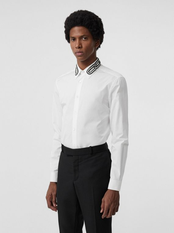Slim Fit Bullion Link Cotton Poplin Dress Shirt in White