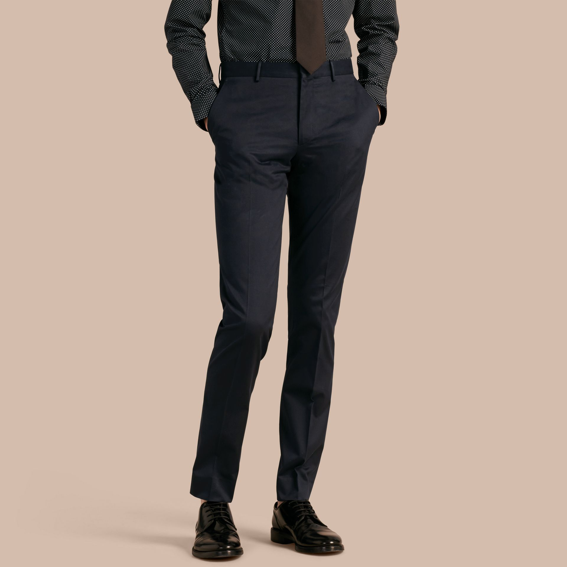 Navy Slim Fit Cotton Trousers - gallery image 1
