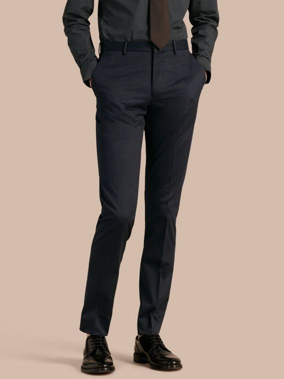 Slim Fit Cotton Trousers Navy