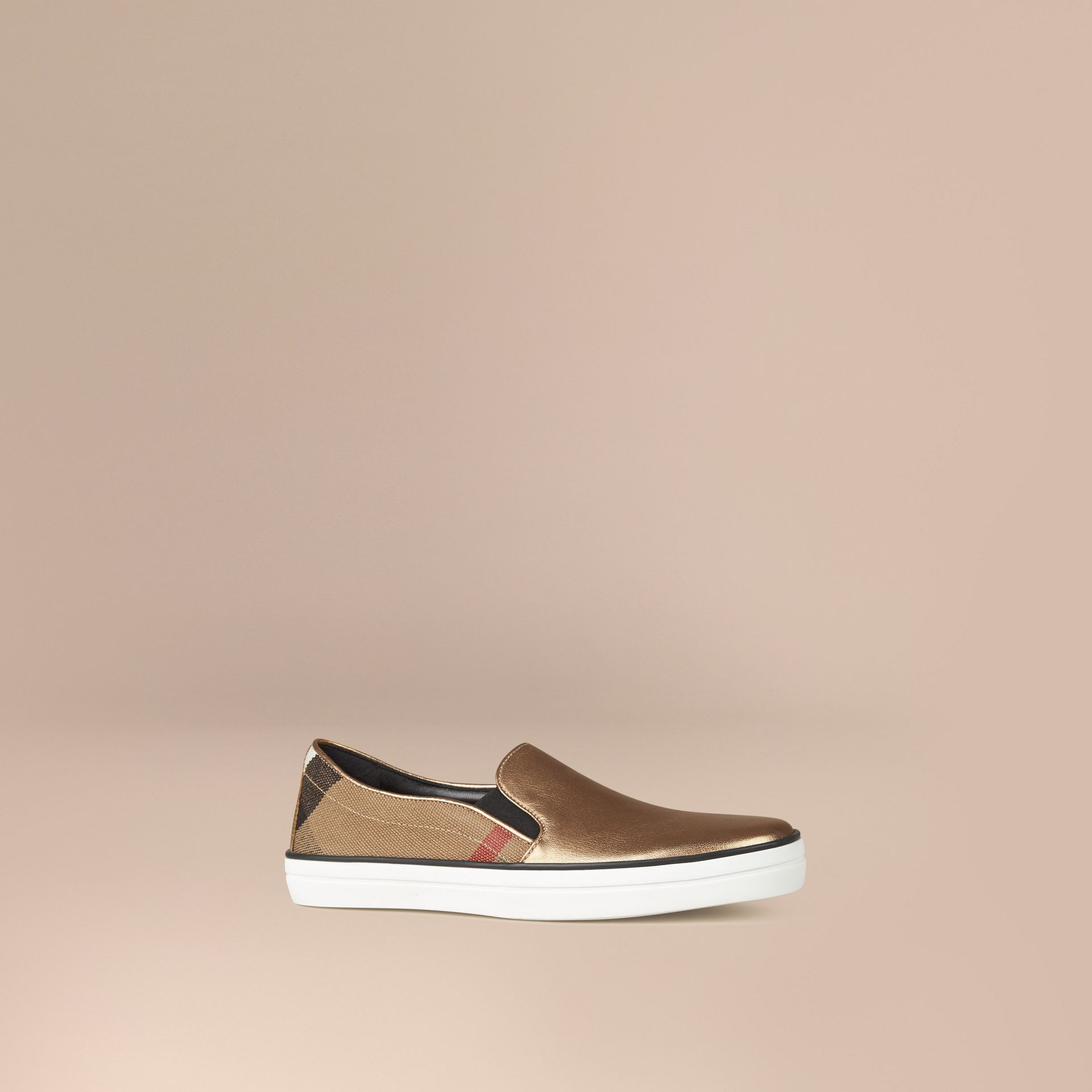 Heritage gold Check and Leather Slip-on Trainers - gallery image 1