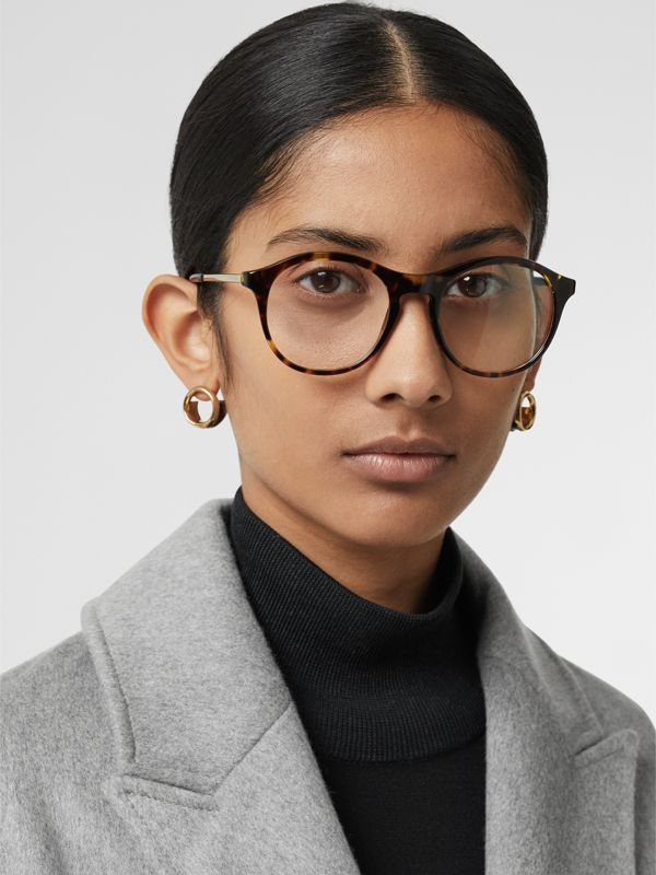 Round Optical Frames in Tortoise Shell - Women | Burberry - cell image 2