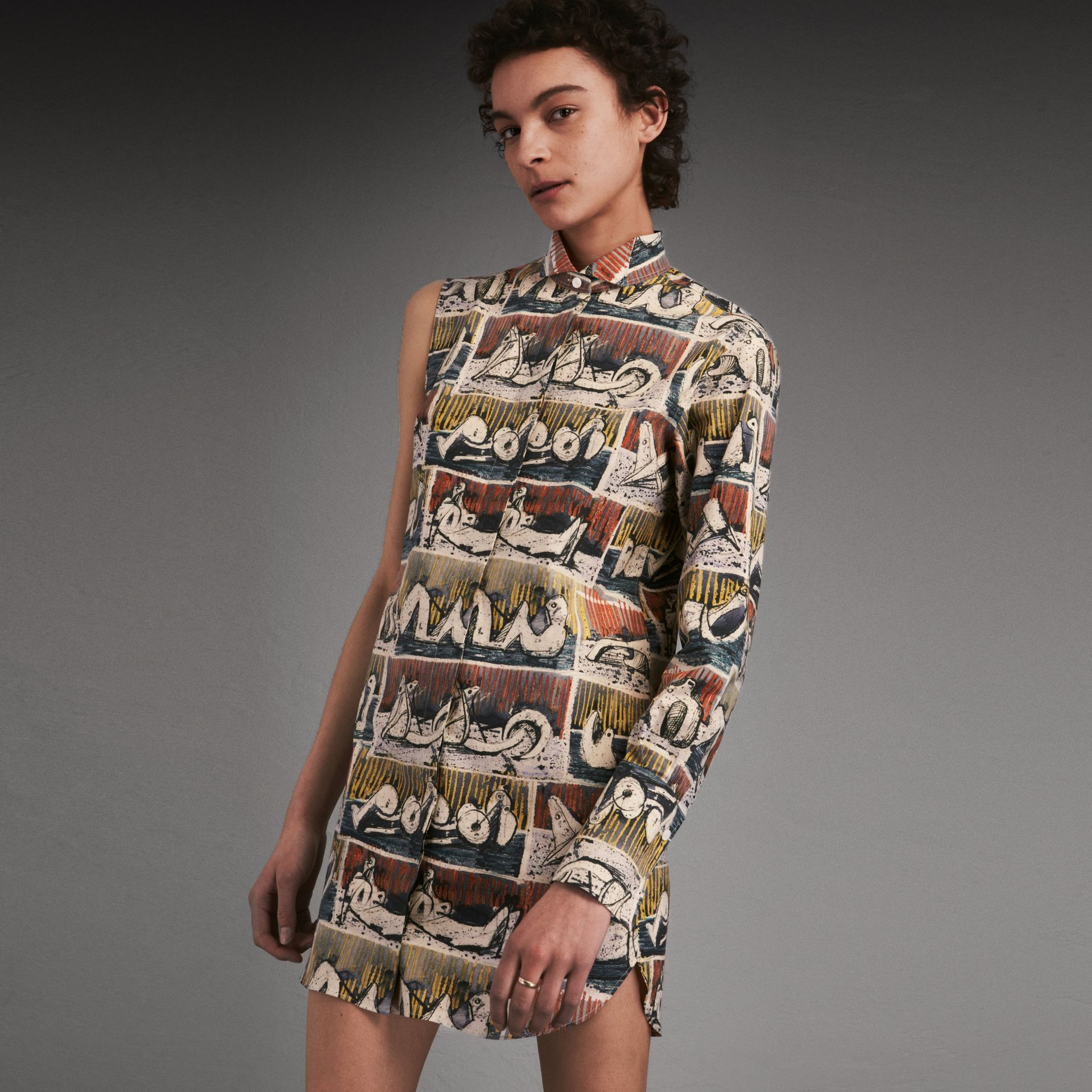 One-shoulder Reclining Figures Print Shirt Dress - Women | Burberry Singapore - gallery image 1