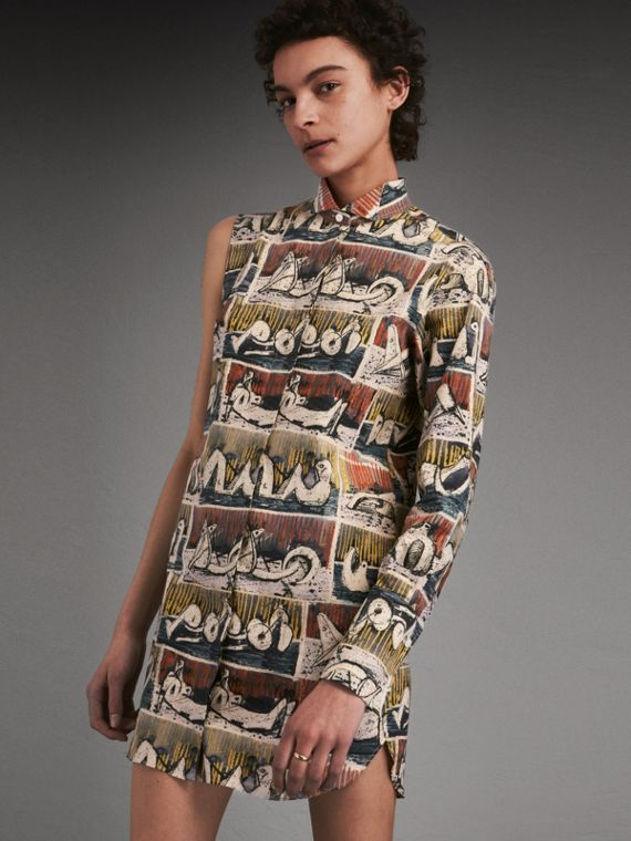 One-shoulder Reclining Figures Print Shirt Dress - Women | Burberry