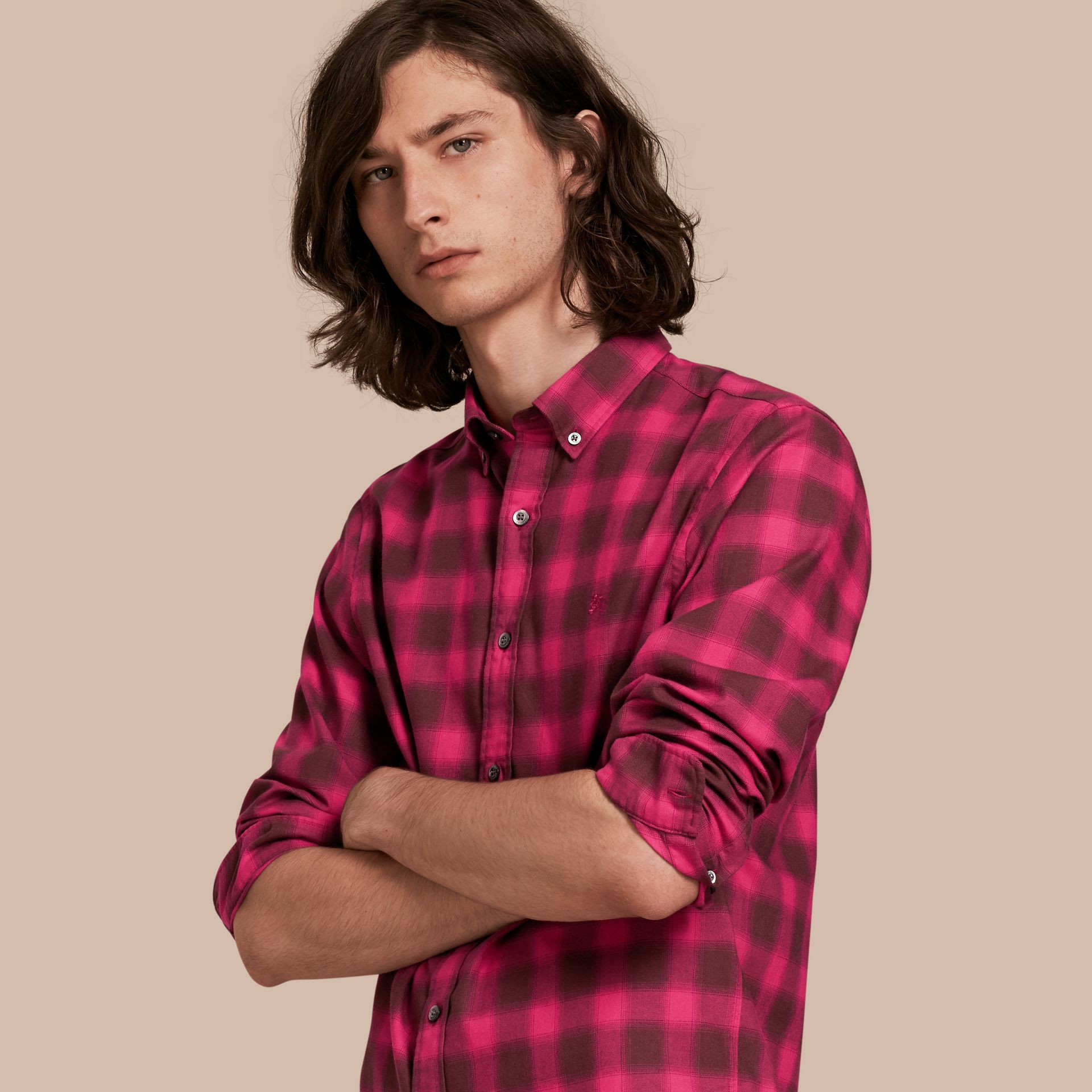 Bright rose Gingham Check Cotton Shirt Bright Rose - gallery image 1