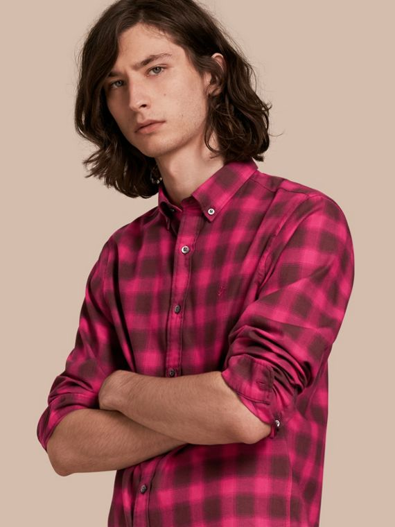 Gingham Check Cotton Shirt Bright Rose