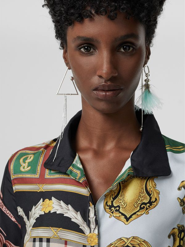 Triangle and Feather Palladium-plated Drop Earrings in Palladio/pale Celadon - Women | Burberry Australia - cell image 2