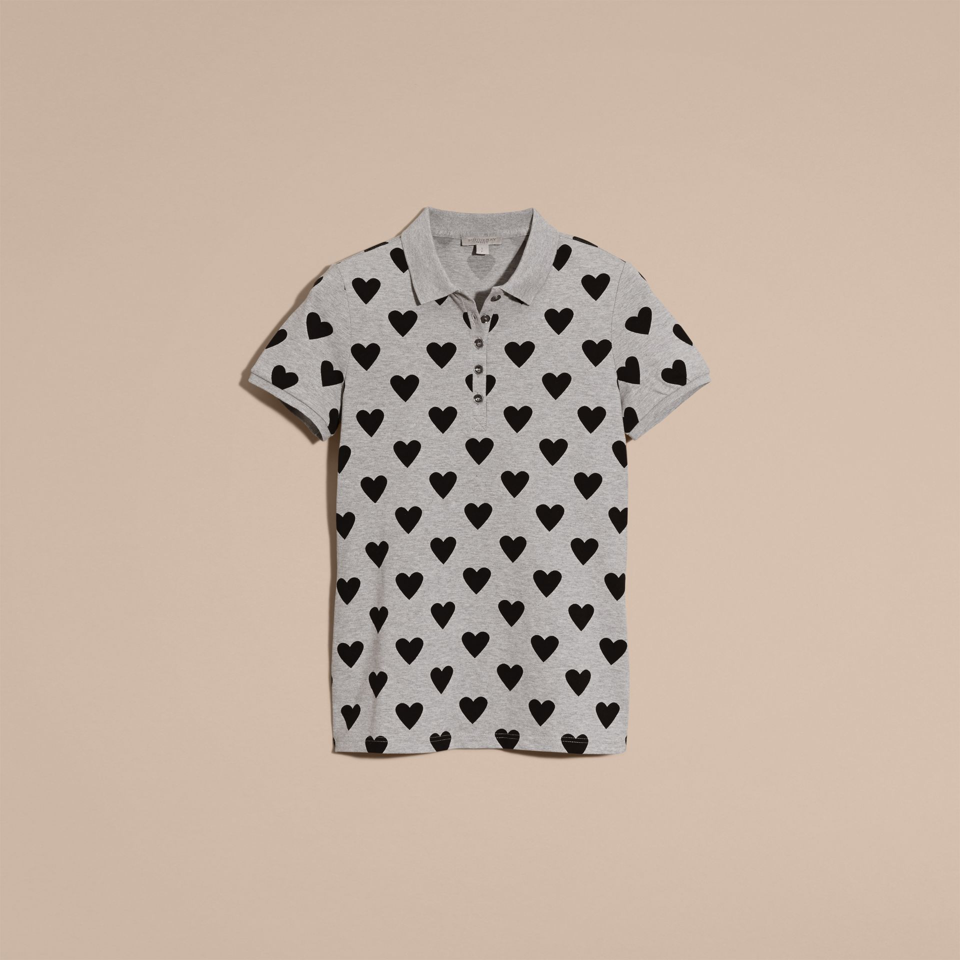 Heart Print Stretch Cotton Piqué Polo Shirt in Grey - gallery image 4
