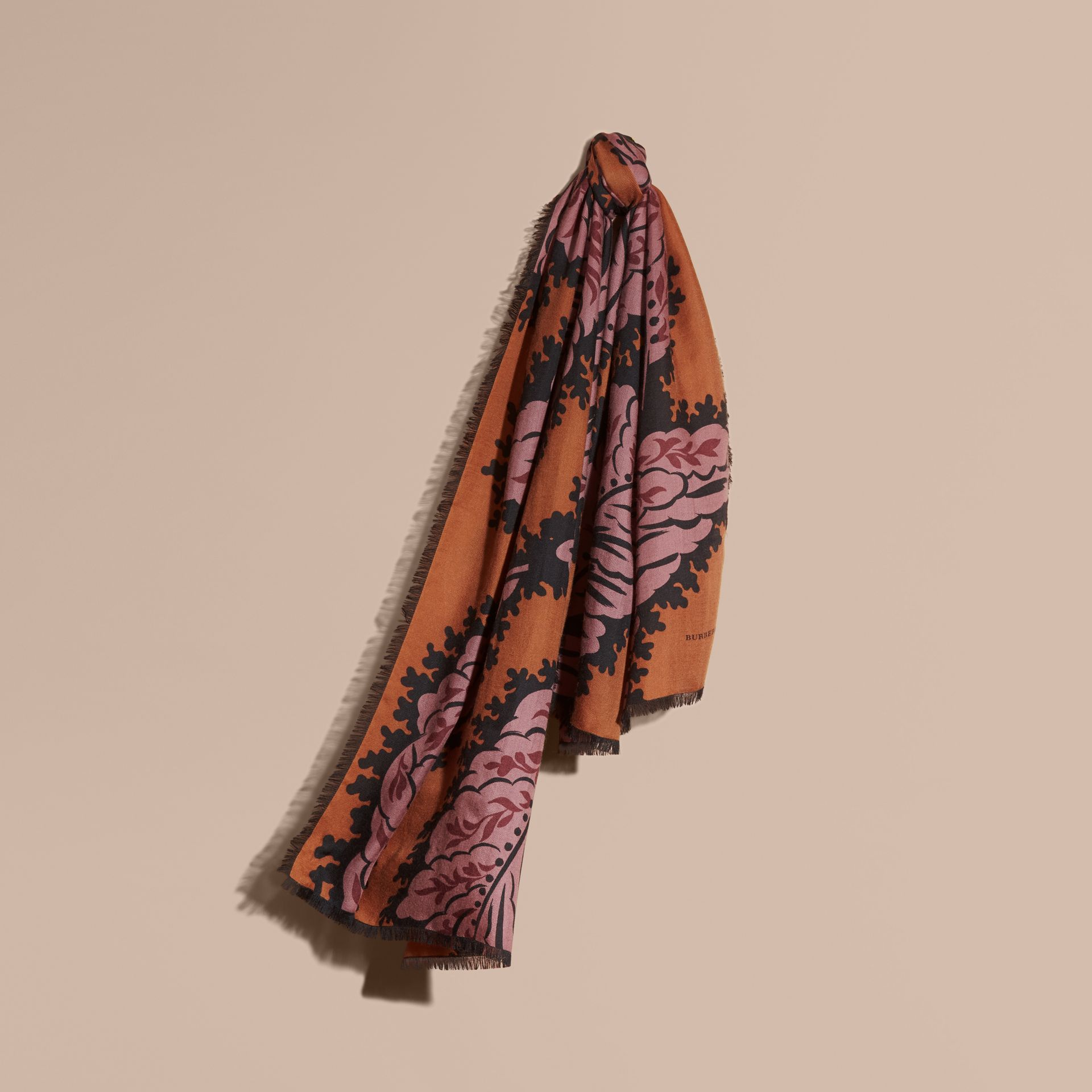 Bright toffee Leaf Print Cashmere Scarf Bright Toffee - gallery image 1