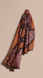 Leaf Print Cashmere Scarf