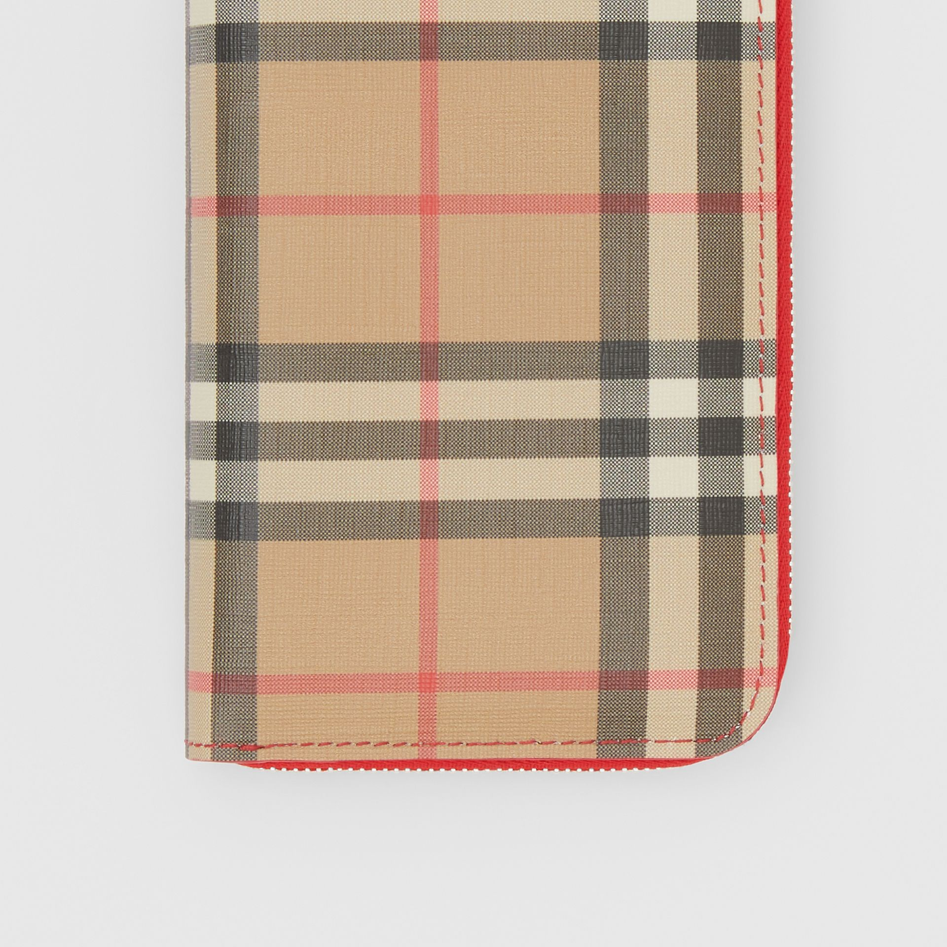 Vintage Check E-canvas and Leather Wallet in Bright Military Red - Women | Burberry Hong Kong S.A.R - gallery image 1